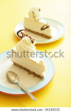 Cheesecake on yellow table