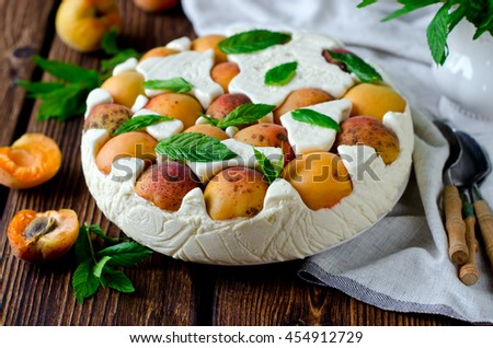 Cheesecake with apricots - stock photo