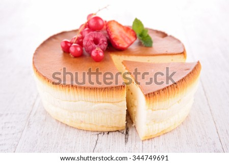 cheesecake with berry fruit - stock photo