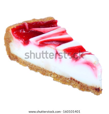 Cheesecake with jam topping isolated on white background - stock photo