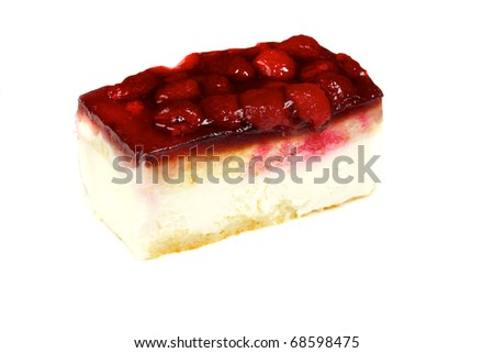 Cheesecake with raspberry isolated on white