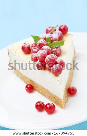 cheesecake with red currants, vertical - stock photo