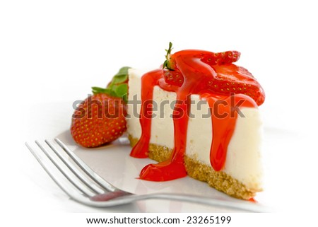 Cheesecake with strawberry glaze sauce on plate - stock photo