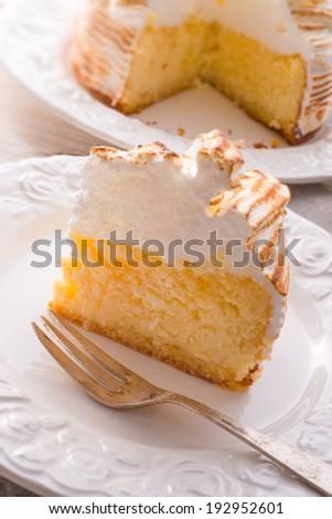Cheesecake with Swiss meringue - stock photo