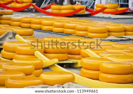 Cheeses in Alkmaar, The Netherlands - stock photo