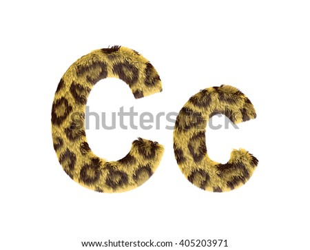 Cheetah fur font alphabet C on isolated white background.