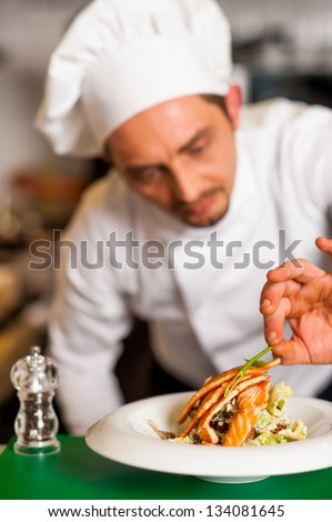Chef adding finishing touch to delicious yummy baked salmon. - stock photo
