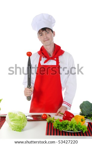 Chef and tomato on the knife. Isolated on white background - stock photo