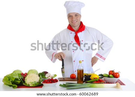 Chef at restaurant. Isolated on white background - stock photo