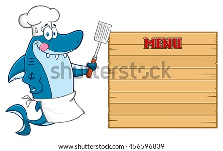 Chef Blue Shark Cartoon Mascot Character Licking His Lips And Holding A Spatula To Wooden Blank Board With Text Menu. Raster Illustration Isolated On White Background - stock photo