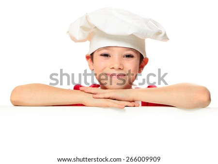 Chef boy isolated on white background with copy space  - stock photo