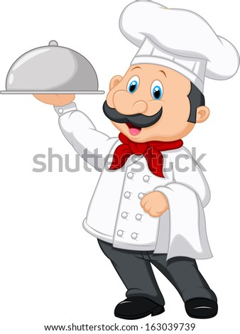 Chef cartoon holding platter - stock photo