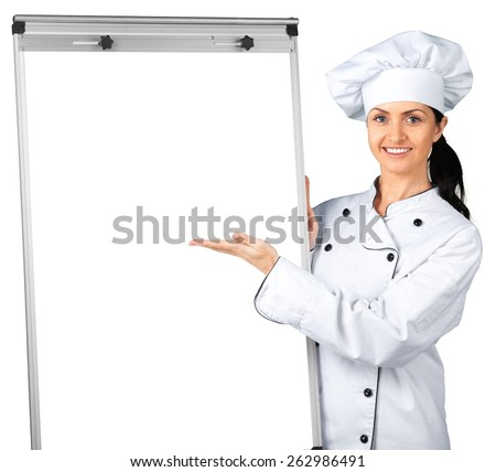 Chef. Chef holding blank poster - stock photo
