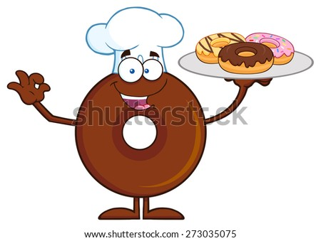 Chef Chocolate Donut Cartoon Character Serving Donuts. Raster Illustration Isolated On White - stock photo