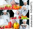 Chef chopping vegetables, collage - stock photo