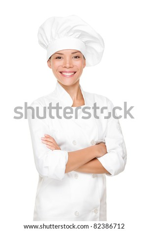 Chef, cook or baker woman. Happy proud portrait of female in chef uniform and chef hat isolated on white background. Asian Caucasian woman model. - stock photo