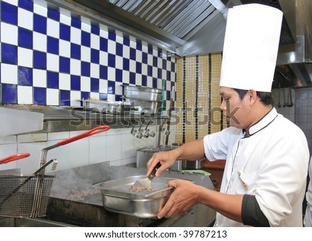 chef cooking - stock photo