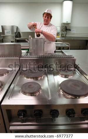 Chef cooking in a professional industrial kitchen - stock photo