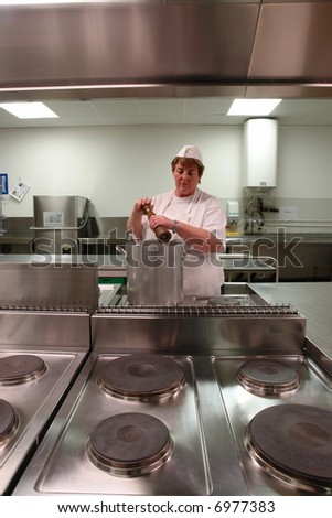 Chef cooking in a professional industrial kitchen