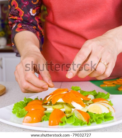 Chef decorate plate with salad
