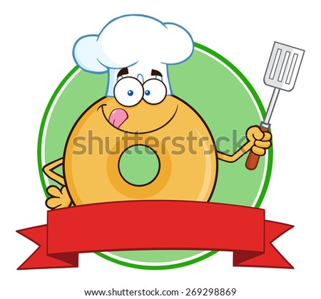 Chef Donut Cartoon Character Circle Label. Raster Illustration Isolated On White - stock photo