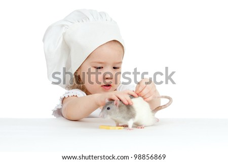 Chef girl and domestic rat eating healthy food together. Isolated on white - stock photo