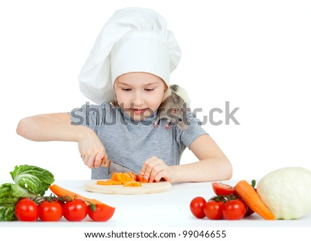 Chef girl preparing healthy food. Helper rat are sitting on her shoulder. - stock photo