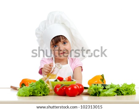 Chef girl preparing healthy food over white background - stock photo