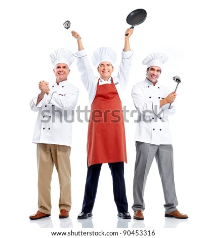 Chef group. Cooking. Isolated over white background