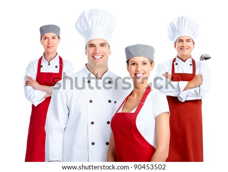 Chef group. Cooking. Isolated over white background - stock photo