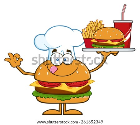 Chef Hamburger Cartoon Character Holding A Platter With Burger, French Fries And A Soda. Raster Illustration Isolated On White - stock photo
