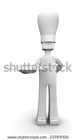 Chef holding a plate serving customer 3d illustration you can put your delicious food on the plate - stock photo