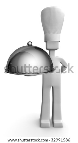 Chef holding a plate with pot cover serving customer 3d illustration - stock photo