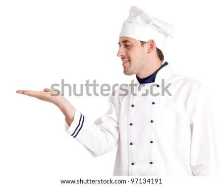 Chef holding  something. Isolated over white. - stock photo