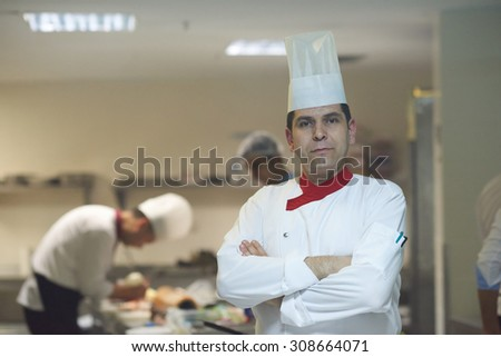 chef in hotel kitchen preparing and decorating food, delicious vegetables and meat  meal dinner - stock photo