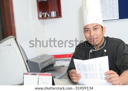 chef in office - stock photo