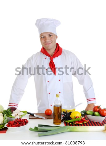 Chef in uniform at restaurant. Isolated on white background - stock photo