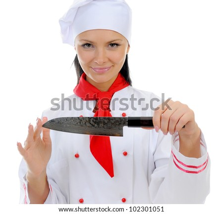 Chef in uniform holding a kitchen knife Japanese. Isolated on white background