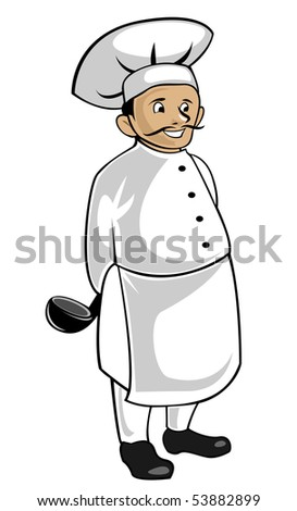 Chef in uniform isolated on white as a concept of healthy food. Vector version also available in gallery - stock photo