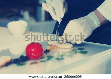 Chef is cooking an elegant gourmet dish, toned image - stock photo
