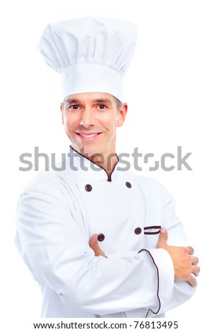 Chef .  Isolated over white background. Gourmet. - stock photo