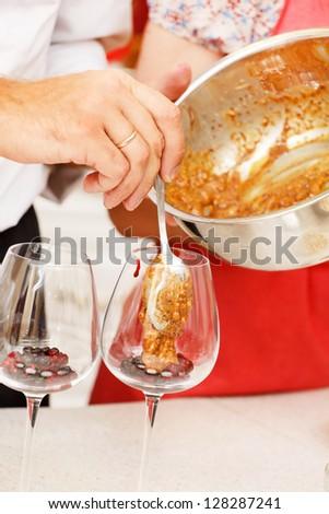 chef making dessert - stock photo