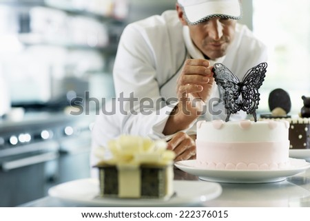 Chef Making Dessert - stock photo