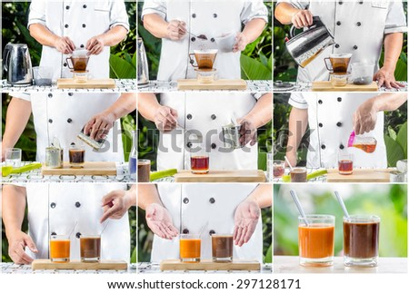 chef making Traditional thai coffee with milk - stock photo