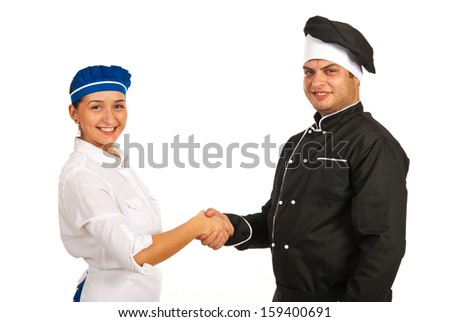 Chef male and waitress giving handshake isolated on white background - stock photo