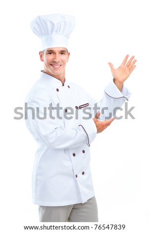 Chef man.  Isolated over white background. Gourmet. - stock photo