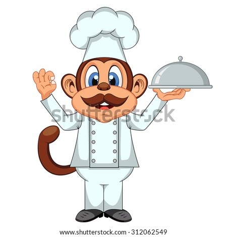 Chef Monkey cartoon - stock photo