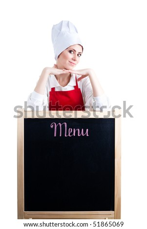 Chef offer new menu showing blackboard, isolated - stock photo