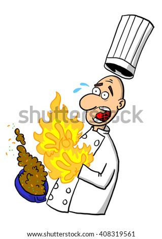 Chef or cook burning hands on hot dish in kitchen  - stock photo
