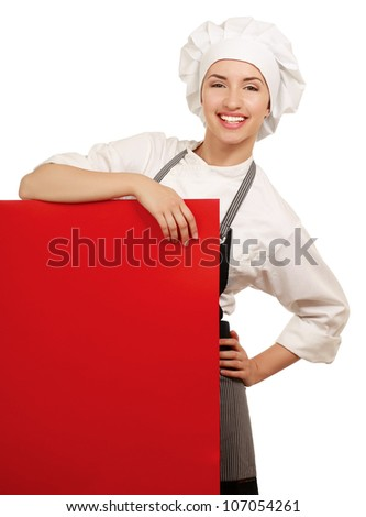Chef or cook showing sign billboard